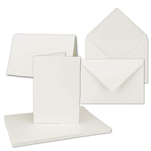 50x Vintage Faltkarten-Set mit Zackenschnitt - Natur-Weiß - Edel-Bütten Doppel-Karten mit Brief-Umschläge - DIN A5-14,8 x 21 cm - imitierter Büttenrand - by GUSTAV NEUSER®