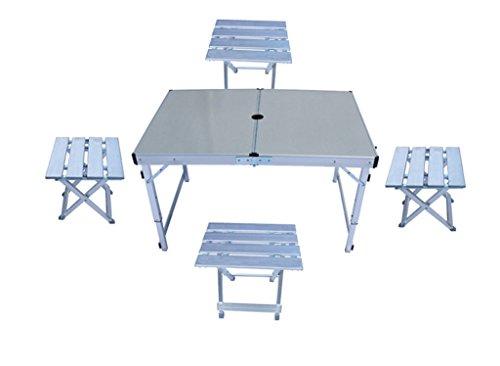 Hmvlw Mesa Plegable Mesa Plegable, Plegable al Aire Libre Mesas y sillas Mesa de Actividades Mesa de conducción Una Mesa y Cuatro sillas Conjunto de Mesa de Picnic portátil
