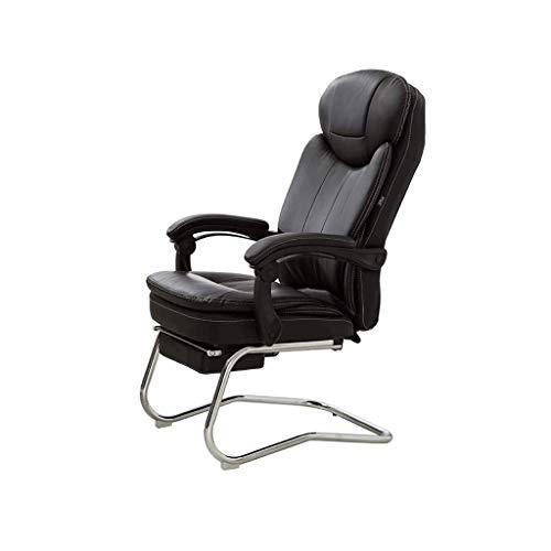 Muebles muy acolchadas respaldo alto reclinable de cuero de vaca 180 ° silla de relajación Ejecutivo con reposapiés, en forma de arco principal silla de la computadora Tao-Miy (Color : Black)