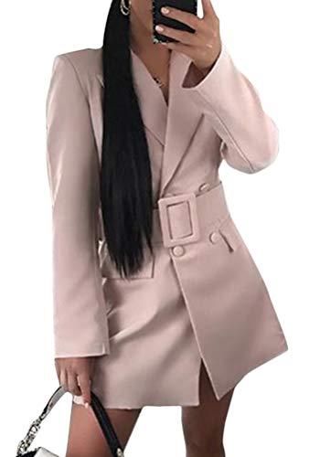 Minetom Mujer Blazer Manga Larga Chaqueta del Traje Mini Vestido Oficina Negocios Parte OL Cuello de Solapa Chaqueta Abrigo con Cinturón Rosa 40