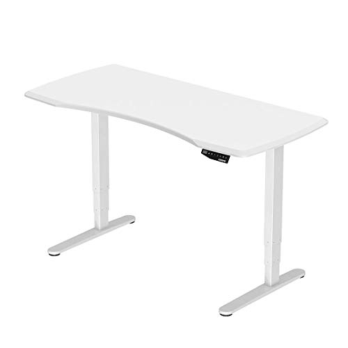 FLEXISPOT Sit Stand Desk Height Adjustable Electric Standing Desk Three-Stage Frame with Tabletop(White Frame+White Desktop)