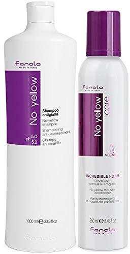 Fanola Offizielles No Yellow Shampoo & Incredible Conditioner Foam (Shampoo 1000 ml + Schaum 250 ml)