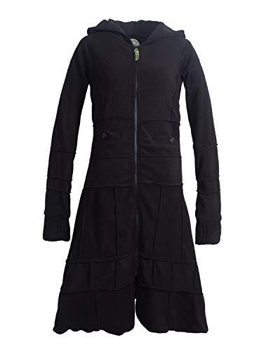Vishes - Alternative Bekleidung - Langer Warmer Weicher Damen Winter Fleecemantel Kapuze Stehkragen Schwarz ohne Kragen 40