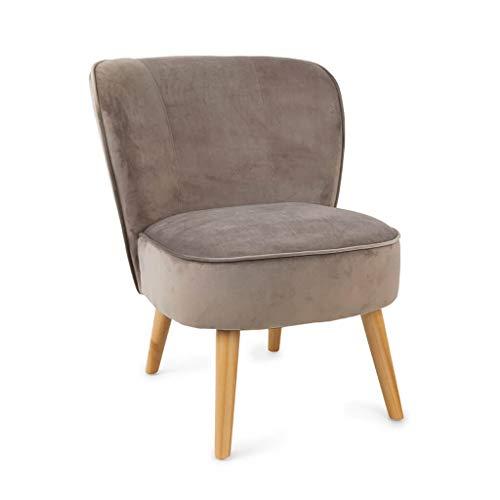 Butaca de diseño pequeña para Dormitorio Gatsby, Terciopelo, Color Gris Topo, cómoda, Mini sillón, Pata en Madera de Haya,59x66x75 cm.