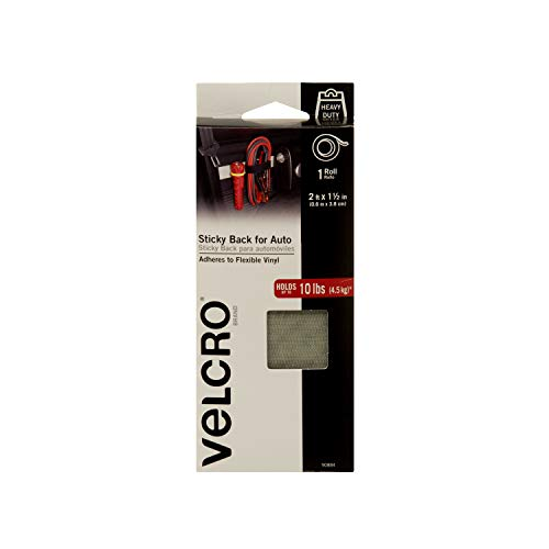 VELCRO Brand Industrial Strength Fasteners | Auto, RV, Boat Adhesive | Heavy Duty Strength for Dashboards & Consoles | Vinyl Compatible & Temperature Resistant | 2ft x 1½ inch Tape, Gray