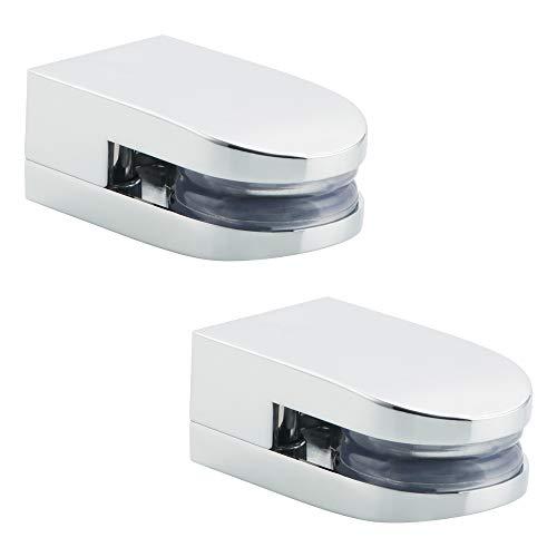 Soportes de estante de vidrio con abrazadera de vidrio Sayayo para vidrio de 5-10 mm de espesor, clip de vidrio ajustable en forma de D, parte posterior plana, acabado pulido, 2 piezas