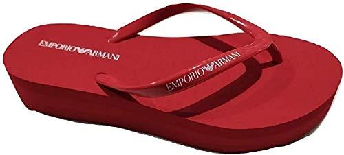 Emporio Armani Flip-Flops für Damen, Keilabsatz, Medium, Gummi, Rot (Numeric_41)