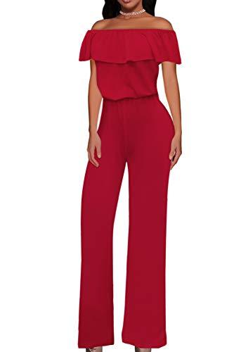 Women High Waist Wide Leg Pants Jumpsuit Romper KPVJ47696 RED XL