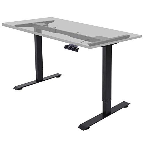 ALLDREI höhenverstellbarer Schreibtisch elektrisch stufenlos höhenverstellbarer Tisch Mit 4 Speicher-Steuerung und Erinnerungsfunktion, 2 Motoren, 2-Fach-Teleskop (Schwarz)