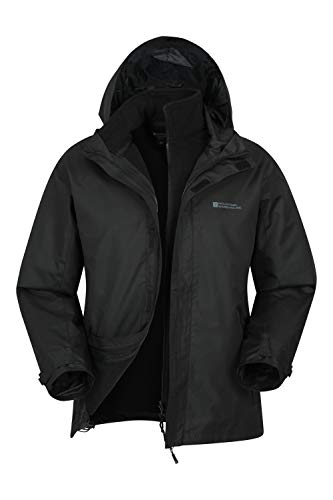 Mountain Warehouse Fell Mens 3 in 1 Water Resistant Jacket - Winter Black X-Large