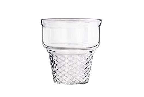 takestop® Copas de helado con forma de cono de cristal transparente, juego de 3 unidades, 230 ml, 8,5 x 8,5 cm