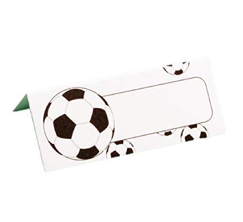 Set di 10 segnaposto da tavolo a tema calcio, bianco per matrimonio, battesimo, comunione