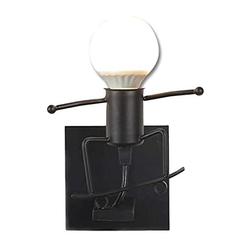 UimimiU Pared luz creativa encantadora hierro forjado lámpara de dibujos animados enano lámpara de pared industrial retro negro metal e27 sala de estar dormitorio creativo simple pequeño hierro hombre