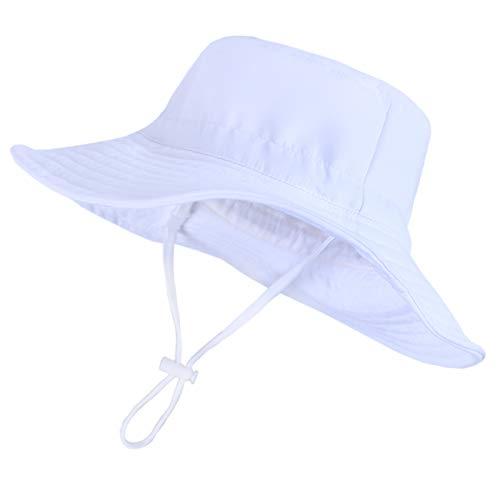 CAMLAKEE Cappello da Pescatore Bambina Estivo Berretto Neonata Cappelli da Sole Bimbo Cappellino da Spiaggia Mare Bianca 4-8 Anni