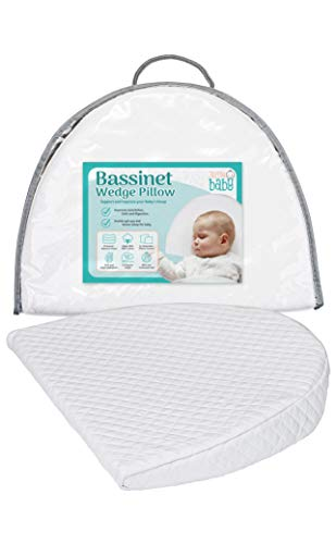 Bassinet Wedge Pillow for Acid Reflux, Colic & Congestion Relief | Cotton & Waterproof Covers | Newborn and Infant Sleep Solution | Pregnancy Wedge Pillow | Baby Pillow for Sleeping by Jollie Baby