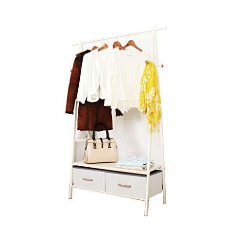 C J XIN Dorm Room Barra de Colgar, la Capa de Almacenamiento multifunción Bastidores Boutiques Ropa Soporte de exhibición con Dos cajones Abrigo Soporte Percheros Burro