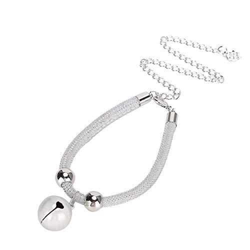 GOTOTOP Collar de Gato Collar de Mascota Ajustable con Campana Perro de Nylon Blanco Gato Suministros de Aseo para Mascotas Decoración Diaria (7.87~14.96 Pulgadas)