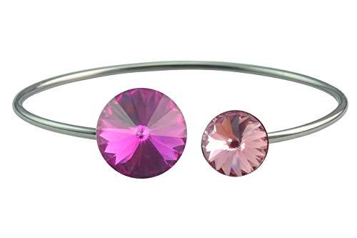 HaJuNa Pulsera de acero inoxidable con 2 cristales de Swarovski, color fucsia/rosa claro