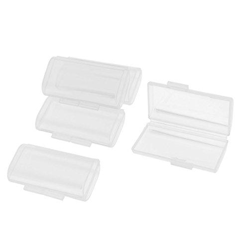 sourcing map 5 Pcs Plastique Transparent Boite De Rangement Etui pour 2 x Piles AAA