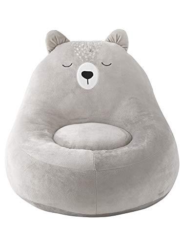 Vertbaudet Flauschiger Teddy-Kindersessel hellgrau ONE Size