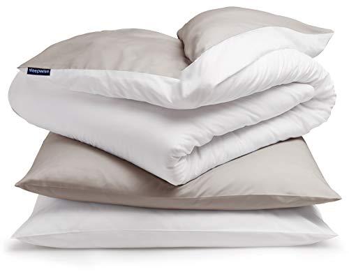 sleepwise ,Soft Wonder\' Bettwäsche | extra-kuschelig, atmungsaktiv, faltenfrei, hypoallergen | Ganzjahres Bettbezug-Set | 3teilig - 200x200cm und 2X 80x80 Kissenbezüge | Taupe/weiß