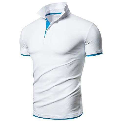 BeIM Herren Kurzarm Poloshirt Polohemd Men's Polo Shirt Basic Polo T-Shirt Baumwolle (3XL, Weissblau)