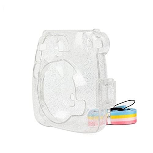ZPDD Funda Protectora Transparente de Cristal, Funda Protectora, Correa para el Hombro para Fuji Fujifilm Instax Camera Instant Mini 9 8 8+ Accesorios (Color : Glitter, Size : 13 * 12.3 * 6cm)