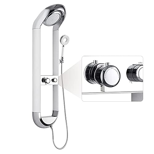 EGZYYSWD Shower Panel System, Handheld, Stainless Steel Shower Tower Column in Chrome Finish 3 Function with Rainfall Shower Head tub spout