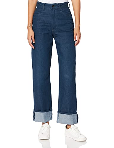G-STAR RAW Tedie Ultra High Waist Straight Jeans, Blue (3D Raw Denim C829-1241), 28W / 30L Donna