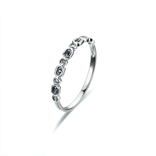 Rubyia Sapphire Ring for Women 18ct White Gold 0.05ct Blue Sapphire with Hexagon Round Splice Size K½