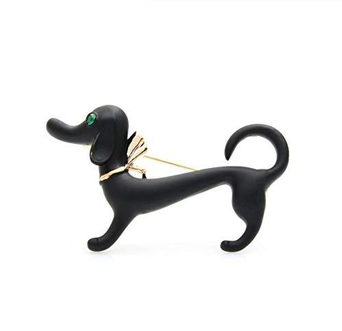N\A Lovely Black Dog Women Alloy Enamel Dachshund Animal Brooches Pins Gifts