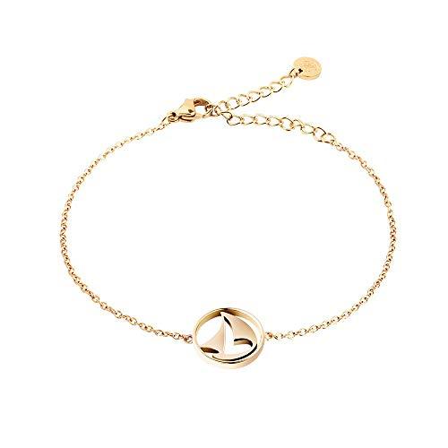PAUL HEWITT Armkette Damen Gold Sail Away - Edelstahl Armband Damen (vergoldet) mit Damen Schmuck Anhänger in Gold aus Edelstahl (Segelboot)