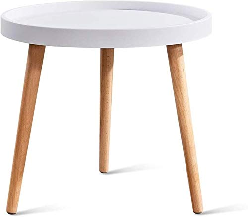 DBL Desk PP Tray Table Modern Small Round Table Living Room Coffee Table Solid Wood Sofa Side Table 17.7' X 19.6' (Size : White)