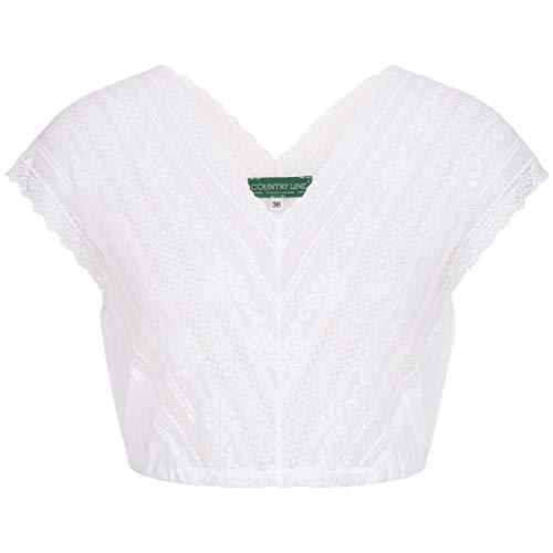 Country-Line Damen Trachten-Mode Dirndlbluse Svenja in Weiß traditionell, Größe:44, Farbe:Weiß
