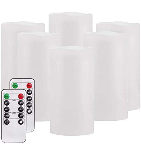 "Flameless Candles,Salipt LED Flickering Candles Set of 6 (H 6"" xD 3"") Battery Operated Candles,Waterproof Flameless Candles, Resin Plastic, Indoor Outdoor Use,White"