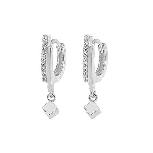 MAJFK Pendientes de tuerca para mujer de plata coreana pendientes de joyería de cristal sintético Zircon Little Star Stud Pendientes de perlas, platino