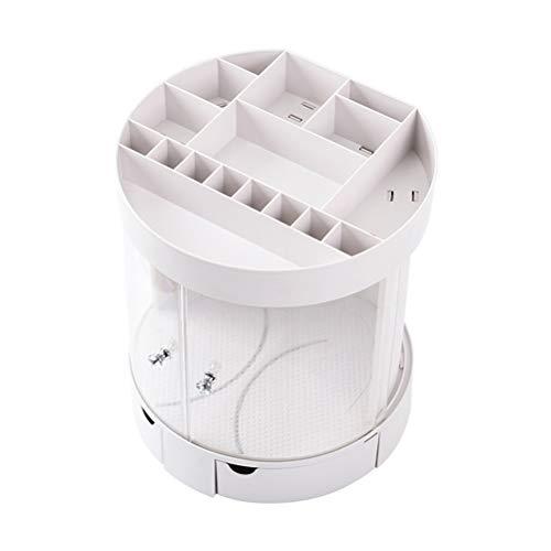 LALAWO Caja de Almacenamiento Caja de Almacenamiento de cosmética con Puerta corredera Estante para lápices de Labios de Escritorio de plástico Creativo Caja de Acabado de joyería de Polvo de baño C