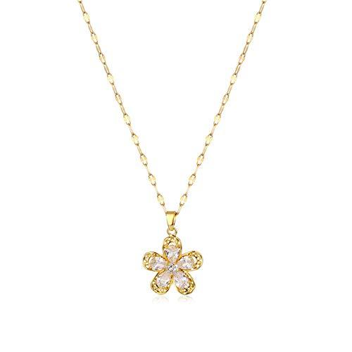 QSO Collar chapado en oro para mujer, collar de acero al titanio con flor y circonita, collar con cadena de cuello