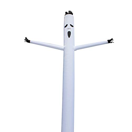 INTBUYING 20ft White Ghost Sky Air Puppet Dancer Inflatable Arm Flailing Tube Man Wacky Wavy Wind Flying for DIY Stand Out Advertising(Blower not Included)