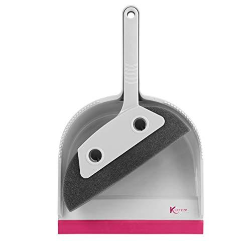 Recogedor y cepillo de espuma para mascotas KL071576EU7 de Kleeneze®   Ideal para Familias con mascotas   Rosa/gris