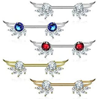 Clear/Red Round and Marquise CZ Prong Set Angel Wings Ends 316L Surgical Steel Nipple Barbell Rings