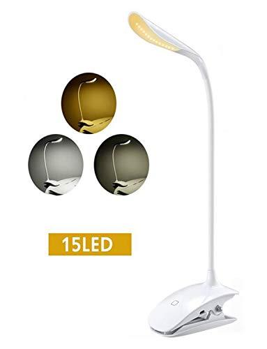 [Lumière Blanc Chaud et Froid] TOPELEK 15 LED Lampe de Lecture Clipsable Tactile, Lampe de Bureau Rechargeable USB Câble, 3 Températures de Couleur et Luminosité Réglables pour Lit, Enfant, Lecture