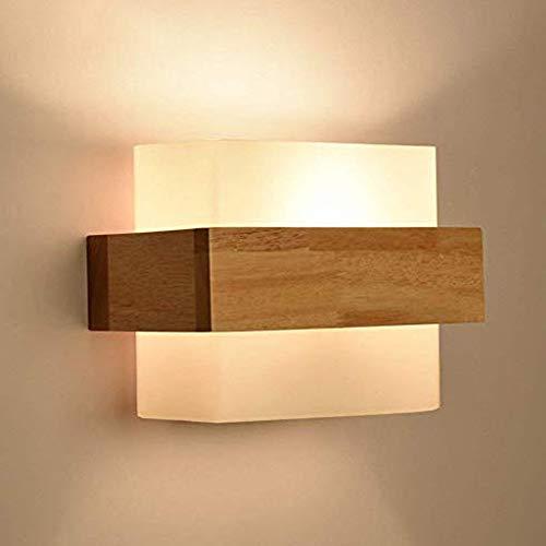 Lampada da parete Moderna in vetro minimalista in legno Applique da Parete da comodino studio creativo soggiorno balcone scala illuminazione del corridoio Lampada a Muro della parete luce di notte E27