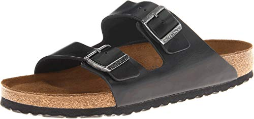 Birkenstock Unisex Arizona Black Amalfi Leather Soft Footbed...