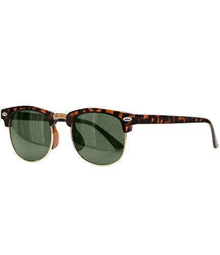 Caripe Sonnenbrille Retro Vintage Kinder Mädchen Jungen verspiegelt - klubbakid (One Size, 411 - Hornstyle - grün getönt)