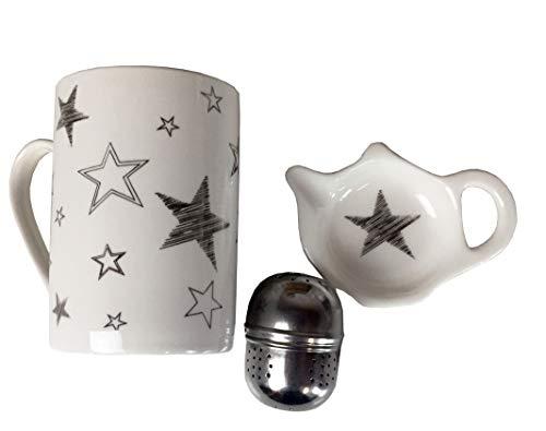 HandWerk Juego de 3 tazas de té con infusor y cuencos, diseño de estrellas, color blanco y plateado
