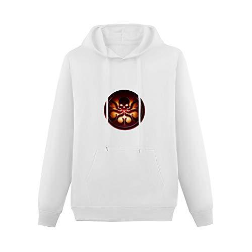 Teenager KangarooPocket Hoodie Agent of Shield Hydra Logo Long Sleeve Sweatshirts Color:White Size:XS