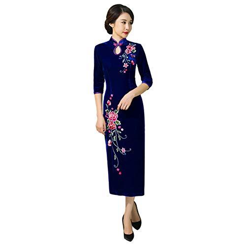 Goyajun Vestido Largo de Cheongsam de Terciopelo para Mujer - Chino Tradicional Boda Bordado Floral Qipao Rojo