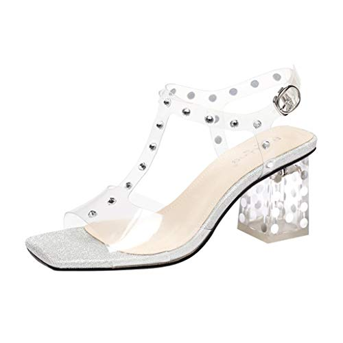 Chunky Heel Sandals Fairy Style Crystal Transparent High Heels Women's Wave Point Sexy Comfort Mid Heel Shoes (Color : Silver, Size : 33)