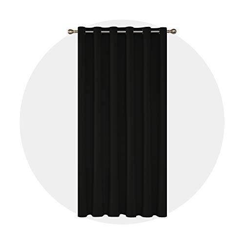 Deconovo Grommet Black Blackout Curtains Wide Curtains Window Curtains for Bedroom 80 x 84 Inch Black 1 Panel